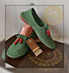 Обувь ручной работы. Ярмарка Мастеров - ручная работа. Купить Слипоны Softness ...цвет-Олива... Handmade. Оливковый, обувь вязаная