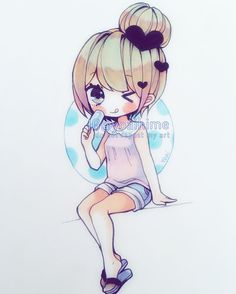 It's finally warmer outside, I can't wait for summer uwu~!!! #chibi #copic…