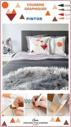 Coussin graphique DIY personnalisation taie d'oreiller avec feutre marqueurs peinture Pintor Pilot La chambre est très confortable et spacieuse mais trop grise et neutre à notre goût.. J'ai alors sorti mes marqueurs peinture Pintor de chez Pilot et en un claquement de doigts, j'ai apporté de la couleur à la chambre ! #crafting #pilotpintor #Pilotmarkers #markers #Paintmarkers #customyourstory #DIY #homedecor #bedroomdecor #greyinterior #scandinavianstyle Scandinavian Style, Pilot Pens, Decoration, Wedding Planning, Cushions, France, How To Plan, Bed, Room