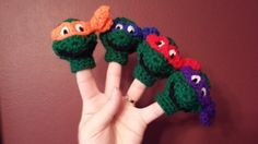 Ninja Turtles Finger Puppet Crochet Pattern by TinyButMightyHearts