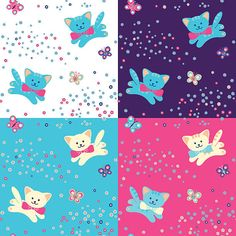 Vetor padrão sem emendas. Gatos, flores e borboletas. - ilustração de arte em vetor