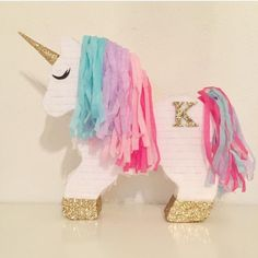 Unicorn Pinata (Aqua, Pink, Purple) - Personalization & Shipping are FREE! Pony Party, 10th Birthday Parties, Birthday Party Themes, 5th Birthday, Birthday Ideas, Birthday Pinata, Unicorn Themed Birthday Party, Party Fiesta, Bday Girl