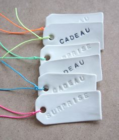 These can be made with the amazing air drying cornflower/pva clay, 2 cups cornflour to 1 cup pva. Mix together, shape, mould, mark or print. Dry overnight and decorate with paint, felt tips etc and seal with PVA