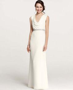 Petite Mya Cowl Neck Wedding Dress
