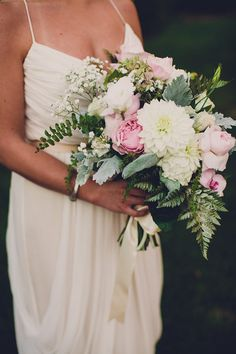 dahlia and peony bouquet, photo by Jackie Wonders http://ruffledblog.com/sweet-dreams-inspired-shoot #peonies #flowers #wedding