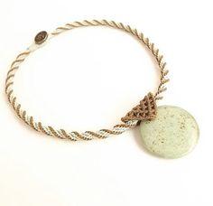 Minimalist Kumihimo Necklace with Jasper Pendant, Macrame Bail, Mint Chocolate Necklace