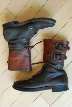 WWII World War 2 COMBAT Jumper buckle Brown Leather Men's Boots 12 A VTG redwing