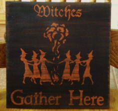 Primitive Witch Sign Witches gather Here Wiccan Witchcraft Pagan Decor Halloween $14