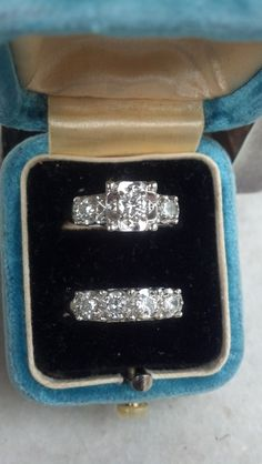 Great 1930's Engagement Ring and Wedding Band Set. 14k White Gold Diamonds on Etsy, $1,465.00