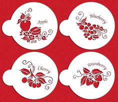 The 4 fruit topper stencils will be perfect to identify your apple, cherry, strawberry, or blueberry pies or cakes. Stencil Patterns, Stencil Designs, Decorating Tools, Cookie Decorating, Paper Art, Paper Crafts, Cut Paper, Halloween Stencils, Cricut Stencils