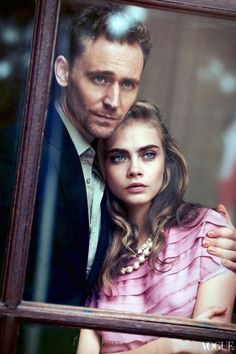 """'Take Two"""" American Vogue, May 2013 Cara Delevingne and Tom Hiddleston Photographed by Peter Lindbergh Styled by Tonne Goodman"""