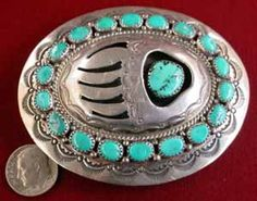 """Buckle  #R77-86962, about 3"""" X 2-1/2"""", takes up to 1-1/2"""" leather, turquoise in sterling silver,  Bear Paw in shadowbox design, Navajo made by """"Wilbert Musket"""", $495"""