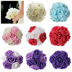 7 Heads Colourfast Foam Roses Crystal Artificial Flower Home Wedding Bride Bouquet Party. Features:  1.Bridesmaid bouquet is made of 7 Roses with Crystal diamond pins at the centre. 2.Ideal for wedding,  party,  office decoration, decor,  altar,  church, corsages,  pew bows,  reception centerpieces. 3.Vivid, Durable, Light Weight, you can keep it for a long time. 4.Ideal for wedding,  party,  office decoration, decor,  altar,  church, corsages,  pew bows,  reception centerpieces…