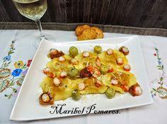 Reto de Julio Cocineros del Mundo y Giovanni Rana: Pasta fresca rellena de cebolla caramelizada y queso de cabra, alcachofas,cebolla asada y gambasdel blogCocinando con Maribel