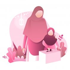 Ramadan kareem illustration with moslem family Premium Vector Muslim Family, Muslim Girls, Couple Cartoon, Cartoon Kids, 3d Cartoon, Family Illustration, Character Illustration, Ramadan, Poster Ramadhan