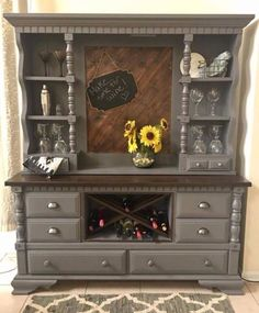 Home bar made from dated old dresser                                                                                                                                                                                 More