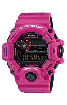 The G-Shock limited edition pink Men In Sunrise Master of G series: Frogman, Rangeman, and Mudman New G Shock, G Shock Men, Casio G Shock Watches, Casio Watch, Patek Philippe, Tag Heuer, Devon, Mode Pro, Omega
