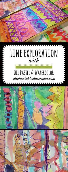 Line Exploration with Oil Pastel & Satercolor