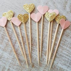 24 Pieces Gold and Blush Glitter Party Picks - Cupcake Toppers - Heart - Wooden . 24 Pieces Gold and Blush Glitter Party Picks - Cupcake Toppers - Heart - Wooden . Pink Und Gold, Rose Gold, Blush And Gold, Birthday Cupcakes, 21st Birthday, Birthday Parties, Birthday Ideas, Garden Birthday, Wedding Parties