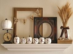 Cute thanksgiving mantle decor -- lots of ideas!