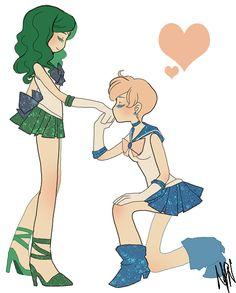 Sailor Neptune and Sailor Uranus / Michiru Kaioh and Haruka Tenoh (Sailor Moon)