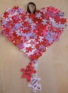 love doing jigsaws and I love crafts and this speaks to me for both. Valentines jigsaw puzzle recycling - from . Puzzle Piece Crafts, Puzzle Art, Puzzle Pieces, Valentines Bricolage, Valentine Day Crafts, Crafts To Make, Crafts For Kids, Arts And Crafts, Autism Crafts