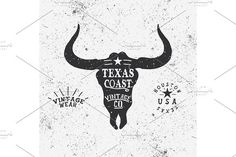 Vintage label with bull head by VectorMaster on @creativemarket