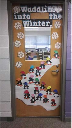 Have your students waddling into winter, with this fantastic Christmas classroom door idea. Part of the top 10 Christmas Classroom decorations in 2013!