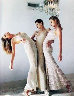 Eva Herzigova, Kristen McMenamy & Rachel Williams for Vogue Us January 1993 by Helmut Newton.