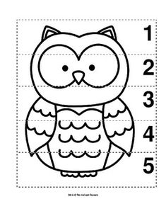 Number Sequence Preschool B&W Picture Puzzle - Owl maternelle Preschool Learning Activities, Preschool Curriculum, Preschool Printables, Preschool Worksheets, Infant Activities, Owl Preschool, Bird Template, Transitional Kindergarten, Grande Section