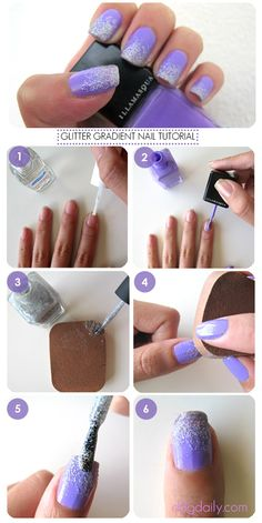 DDG How to: Purple tastic Glitter Gradient Nails! How to create gorgeous lilca / lavendar and silver glitter nail art at home (so easy!) #easy #diy #nailart #glitter