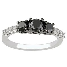 Elora 14k Gold 1ct TDW Black and White Round Diamond 3-stone Engagement Ring (I-J, I1-I2) (Size 7.5, White Gold), Women's