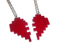 Best Friend Necklaces Friendship Pixel by KitschBitchJewellery