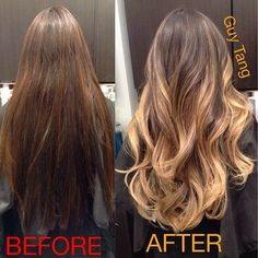 Her Before was dyed dark underneath the nape so this was a color correction that took over 6 hours! After the ombr her hair looks longer, fuller and have more movement even after I gave her my signature layer cut! Love