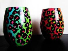 #handpainted #leopard #colorful #wine glasses by Durban Decor <3