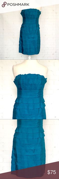 Spotted while shopping on Poshmark: Phoebe Couture Teal Ruffled Tier Party Dress SZ 4! #poshmark #fashion #shopping #style #Phoebe Couture #Dresses & Skirts