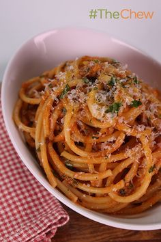 Nothing says yum like this Italian comfort food Bucatini All'Amatriciana by Debi Mazar & Gabriele Corcos! #TheChew