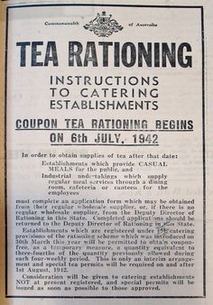 """Government notice that appeared in The North Midland Times newspaper on 10 July 1942 advising of tea rationing."" Posted on bookshopsdriveinsandjive.com by Christie Cantrell."