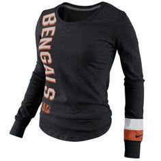 Nike Cincinnati Bengals Ladies Go Long Long Sleeve T-Shirt - Black