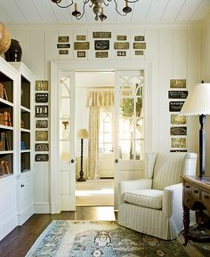 I like the color pallet and notice how they painted the inside of the bookcases? -- via cote de texas