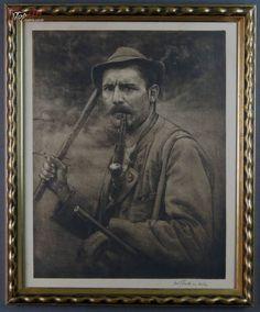 Człowiek gór myśliwy traper imponująca akwaforta Tromso, Topaz, Painting, Fictional Characters, Painting Art, Paintings, Fantasy Characters, Painted Canvas, Drawings