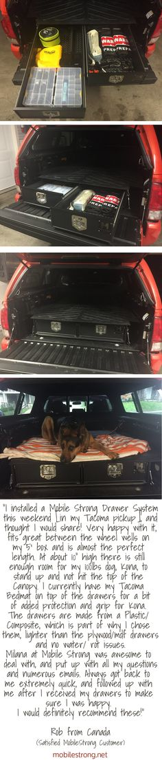 Rob from Canada loves his MobileStrong HDP Storage Drawer/Box for his Toyota Tacoma, Mid-size Truck