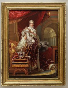 Zoom in to view details of King Charles X's lavish & ostentatious dress in this 1829 painting. Charles X (1757–1836), King of France, after Gérard. Artist: Henry Bone.