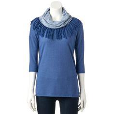 Women's French Laundry Fringe Scarf Sweater, Size: Medium, Blue