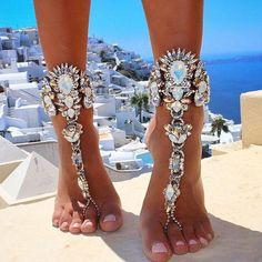2016一台ロングビーチ夏休み足首ブレスレットサンダルセクシーな脚チェーン女性自由奔放に生きるクリスタルアンクレット声明ジュエリー3226