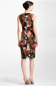 | Dolce Rose Print Stretch Cady Dress