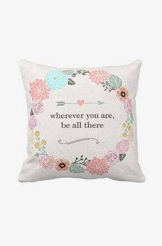 Pillow Cover Floral Wreath Inspirational Cotton