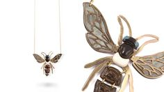 Brass Wasp Pendant Necklace