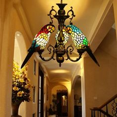 Tiffany Style Stained Glass Double Parrots Pendant Lamp