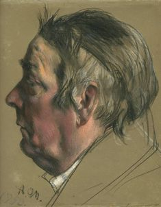 Study of a Man's head (pastel) by Menzel